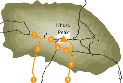 Reisroute beklimming Kilimanjaro Machame Route