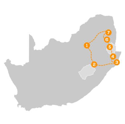 Reisroute Familiereis Zuid-Afrika