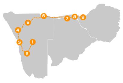 Reisroute Namibië, Chobe Rivier en Victoria Watervallen per huurauto