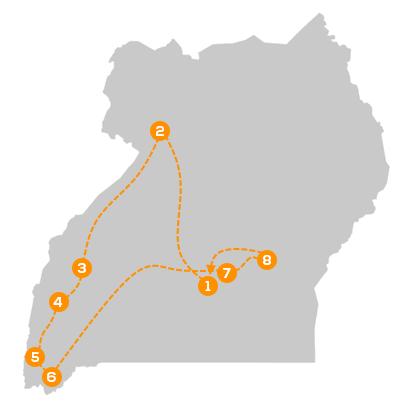Reisroute Hoogtepunten van Oeganda