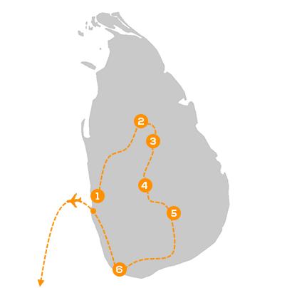 Reisroute Luxe Privé Rondreis Sri Lanka & Malediven