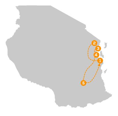 Reisroute Safari Zuidoost-Tanzania